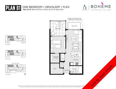Commercial Drive Condo for sale: The Boheme 1 bedroom and den 671 sq.ft. (Listed 2015-02-18)
